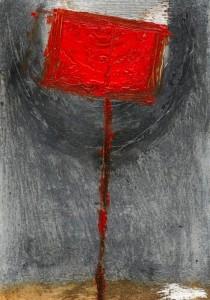 Cata Ahlbäck: coming through II 2007 20 X 15 graafinen maalaus alumiinilevylle
