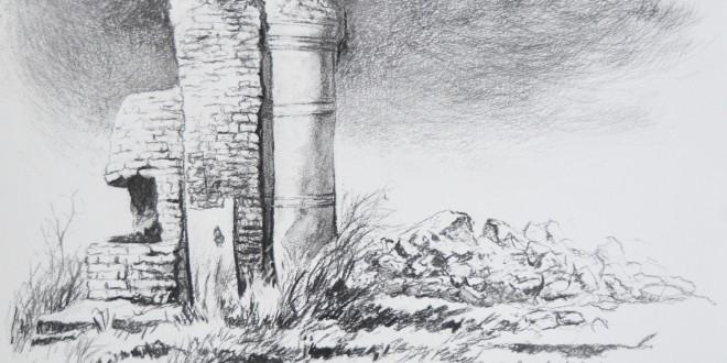 Muuri, hiilipiirros, 2015